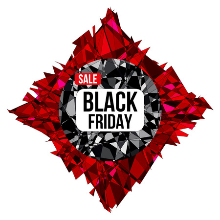 shard: Black Friday sale design poster on shattered background created from intersected lines and painted in different shades of black and red. Concept for your design.