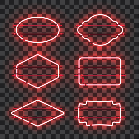 Set of realistic glowing red neon frames isolated on transparent background. Shining and glowing neon effect. Every frame is separate unit with wires, tubes and holders. Vector illustration.