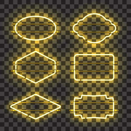 Set of realistic glowing yellow neon frames isolated on transparent background. Shining and glowing neon effect. Every frame is separate unit with wires, tubes and holders. Vector illustration.