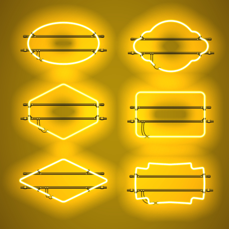 Set of realistic glowing yellow neon frames