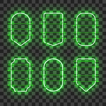 Set of realistic glowing green neon frames isolated on transparent background. Shining and glowing neon effect. Every frame is separate unit with wires, tubes and holders. Vector illustration.