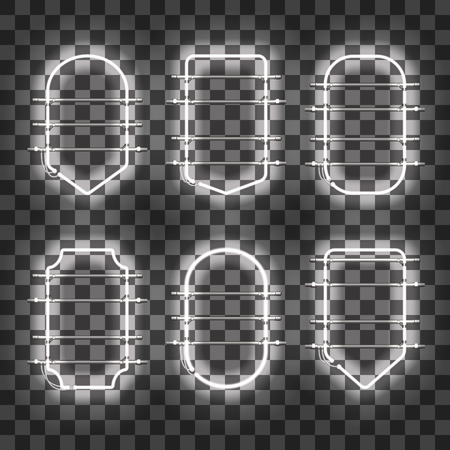 Set of realistic glowing white neon frames isolated on transparent background. Shining and glowing neon effect. Every frame is separate unit with wires, tubes and holders. Vector illustration. Illustration