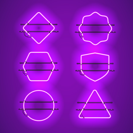 Set of realistic glowing purple neon frames isolated on transparent background. Shining and glowing neon effect. Every frame is separate unit with wires, tubes and holders. Vector illustration.