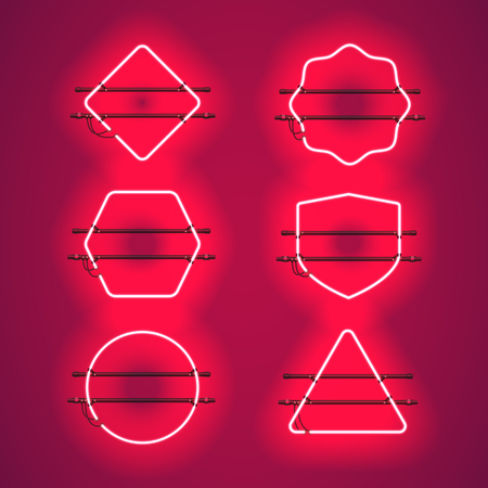 Set of realistic glowing red neon frames isolated on transparent background. Shining and glowing neon effect. Every frame is separate unit with wires, tubes and holders. Illustration