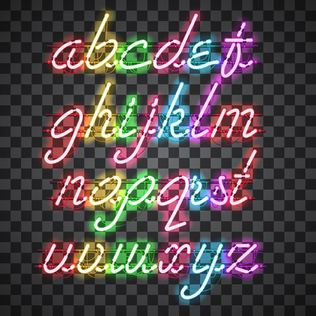 Glowing Multi Colors Neon Script Font with lowercase letters from A to Z with wires, tubes, brackets and holders. Shining and glowing neon effect. Vector illustration. Illustration