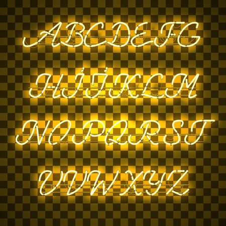 Glowing Yellow Neon Script Font with uppercase letters from A to Z with wires, tubes, brackets and holders. Shining and glowing neon effect. illustration.