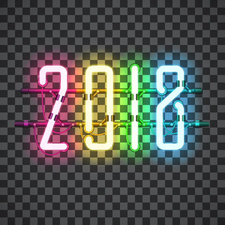 Glowing Multi Color Neon sign 2018 on transparent background with wires, tubes, brackets and holders. Vector element for New Year card, logo or other design. Shining and glowing effect. Vector