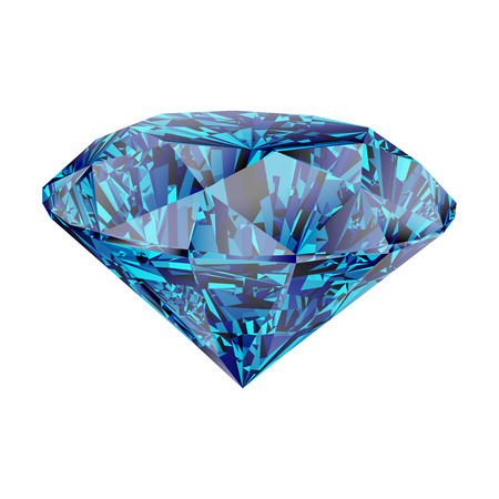 Realistic shining blue diamond jewel isolated on white background. Colorful gemstone that can be used as part of logo, icon, web decor or other design. Illustration