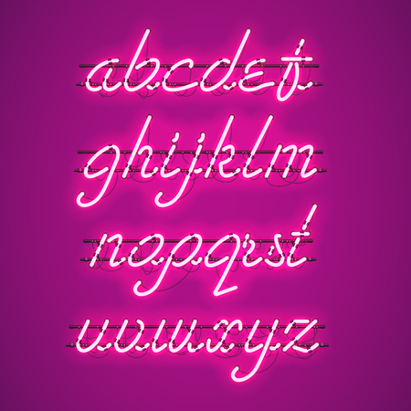 Glowing Purple Neon Script Font with lowercase letters from A to Z with wires, tubes, brackets and holders. Shining and glowing neon effect. Vector illustration.