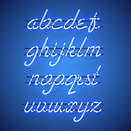Glowing Blue Neon Script Font with lowercase letters from A to Z.
