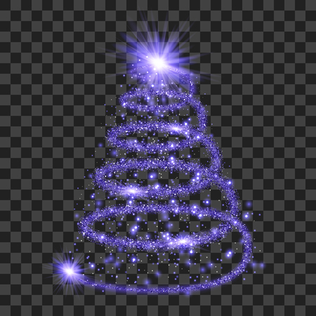 Purple particle wave in form of christmas tree with bright shining and glowind particles isolated on transparent background. Glitter bright trail, glowing wave vector illustration
