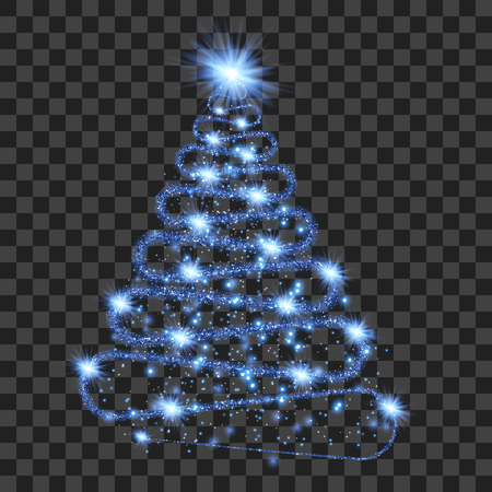 Blue particle wave in form of christmas tree with bright shining and glowind particles isolated on transparent background. Glitter bright trail, glowing wave vector illustration