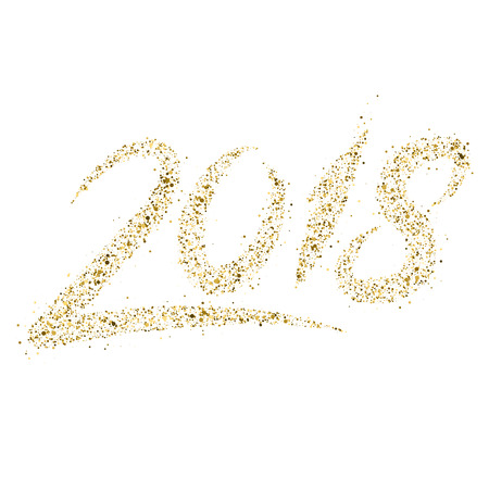 Golden particle wave in form of 2018 digits isolated on white background. Glitter trail vector illustration