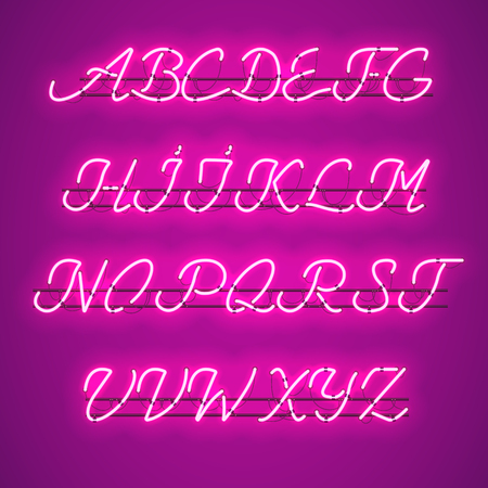 Glowing Purple Neon Script Font with uppercase letters from A to Z with wires, tubes, brackets and holders. Shining and glowing neon effect. Vector illustration. Illustration