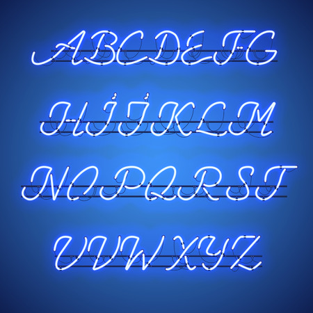 Glowing Blue Neon Script Font with uppercase letters from A to Z with wires, tubes, brackets and holders. Shining and glowing neon effect. Vector illustration.