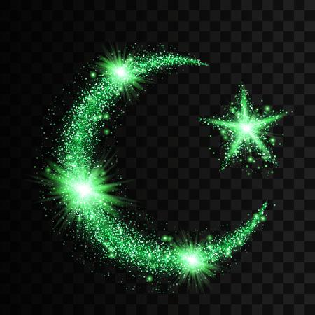 イスラム教のシンボル三日月と透明な背景に分離した明るい輝き、glowind 粒子と星の形で緑の粒子の波。キラキラ明るい歩道、輝く波のベクトル図  イラスト・ベクター素材