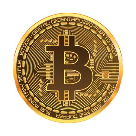 Moneta dorata di criptovaluta con il simbolo dorato del bitcoin sul dritto isolato su fondo bianco. Illustrazione vettoriale Archivio Fotografico - 91874757