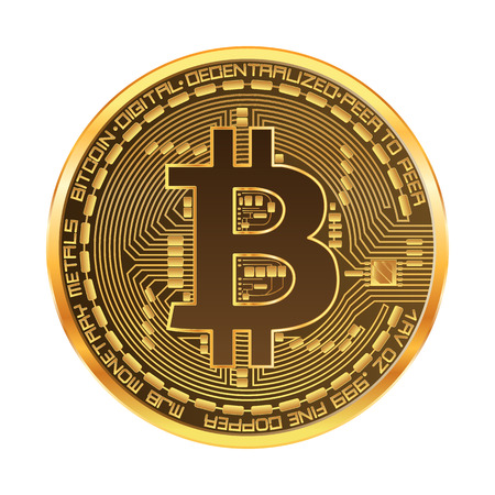 Crypto currency golden coin with golden bitcoin symbol on obverse isolated on white background. Vector illustration.
