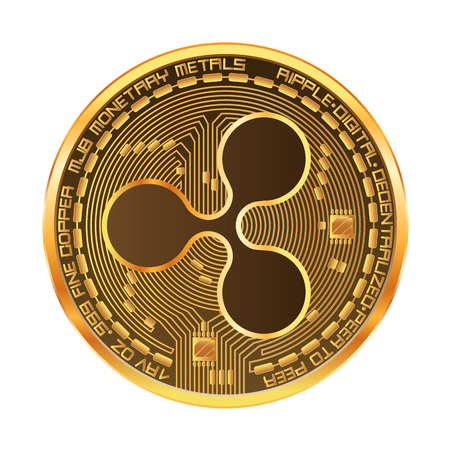 Crypto currency golden coin with gold ripple symbol on obverse isolated on white background. Vector illustration. Use for print products, page and web decor or other design.