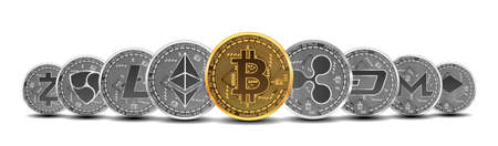 Set of gold and silver crypto currencies with golden bitcoin in front of other crypto currencies as leader isolated on white background. Vector illustration. Use for logos, print products
