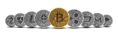 Zestaw złotych i srebrnych kryptowalut ze złotym bitcoinem przed innymi kryptowalutami jako lider na białym tle. Ilustracji wektorowych. Używaj do logo, produktów drukowanych Logo