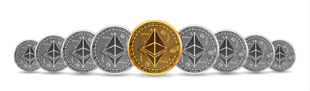 Set of mixed gold and silver crypto currency coins with ethereu symbol on obverse isolated on white background. Vector illustration. Use for logos, print products, page and web decor or other design. Illustration