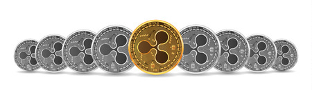 Set of mixed gold and silver crypto currency coins with ripple symbol on obverse isolated on white background. Vector illustration. Use for logos, print products, page and web decor or other design. Illustration