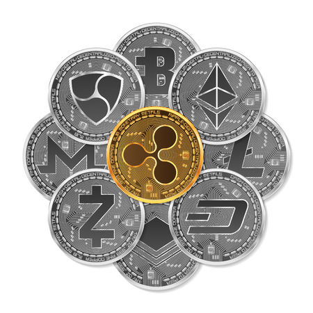 Set of gold and silver crypto currencies with golden ripple in front of other crypto currencies as leader isolated on white background. Vector illustration. Use for logos, print products