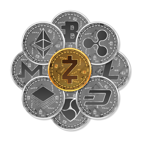 Set of gold and silver crypto currencies with golden zcash coin in front of other crypto currencies as leader isolated on white background. Vector illustration. Use for logos, print products. Illustration