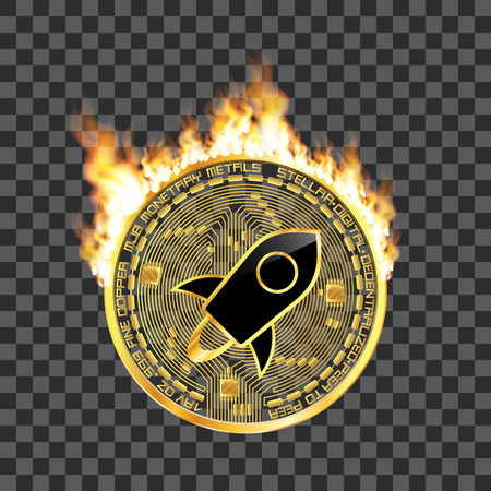 Crypto currency golden coin with black lackered stellar symbol on obverse surrounded by realistic flame and isolated on transparent background. Vector illustration. Illustration