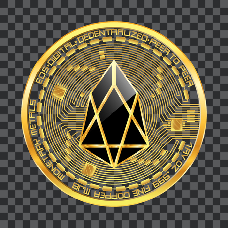 Crypto currency golden coin with black lackered eos symbol on obverse isolated on transparent background. Vector illustration. Use for logos, print products, web decor or other design.