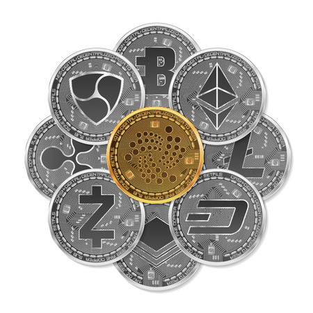 Set of gold and silver cryptocurrencies with golden iota in front of other cryptocurrencies on white background.