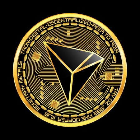 Crypto currency golden coin with black lackered tron symbol on obverse isolated on black background. Vector illustration. Use for logos, print products, page and web decor or other design.