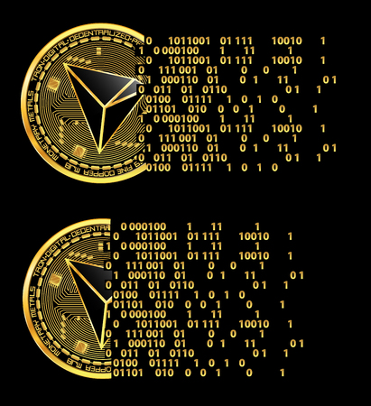 Set of crypto currency golden coins with black lackered tron symbol on obverse isolated on black background. Vector illustration. Use for logos, print products, page and web decor or other design.