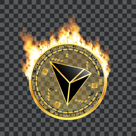Crypto currency golden coin with black lackered tron symbol on obverse surrounded by realistic flame and isolated on transparent background. Vector illustration.