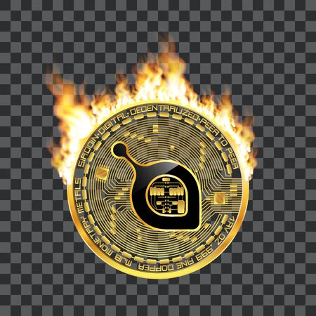 Crypto currency golden coin with black lackered siacoin symbol on obverse surrounded by realistic flame and isolated on transparent background. Vector illustration.