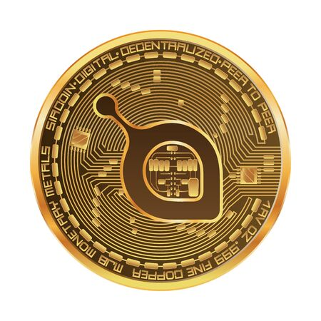 Crypto currency golden coin with siacoin symbol on obverse isolated on black background. Vector illustration. Use for logos, print products, page and web decor or other design. Stock Illustratie