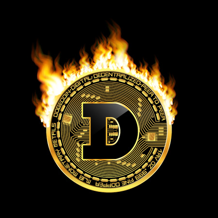 Crypto currency dogecoin golden symbol on fire