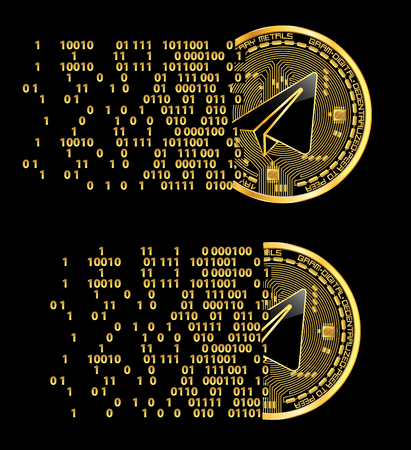 Set of crypto currency gram golden symbols