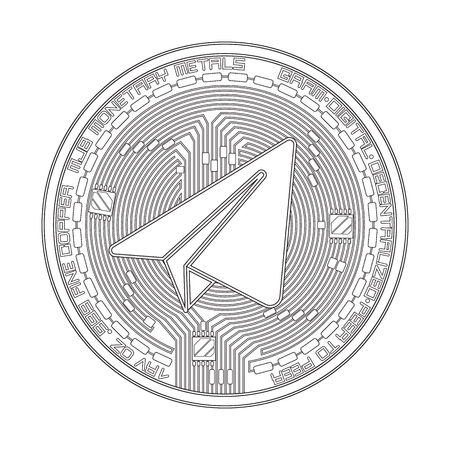 Crypto currency gram black and white symbol Illustration
