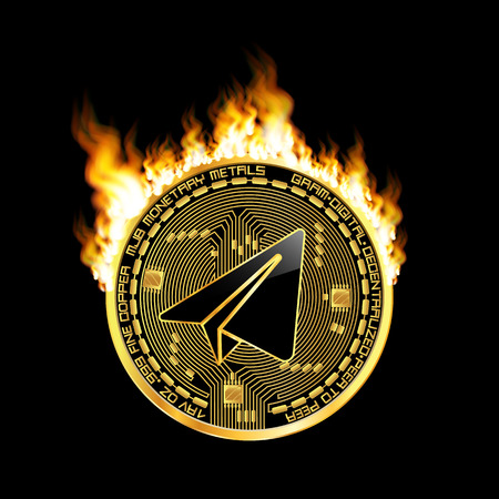Crypto currency gram golden symbol on fire