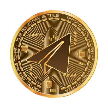Crypto currency gram golden symbol