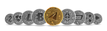 Set of gold and silver crypto currencies