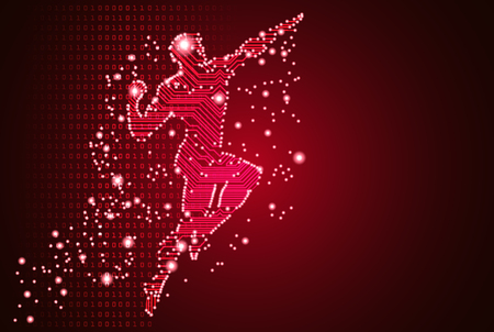 Big data and artificial intelligence concept. Machine learning and cyber mind domination concept in form of men flying figure outline with circuit board and binary data flow on red background. Illustration
