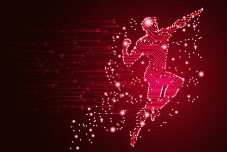 Big data and artificial intelligence concept vector illustration Illusztráció