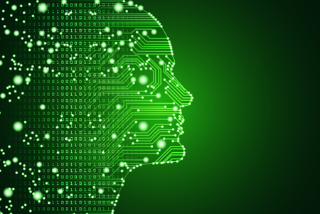 Big data and artificial intelligence concept. Machine learning and cyber mind domination concept in form of men face outline outline with circuit board and binary data flow on green background.