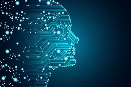 Big data en kunstmatige intelligentie concept. Machine learning en cyber geest dominantie concept in de vorm van mannen worden geconfronteerd met overzichtsoverzicht met printplaat en binaire gegevensstroom op blauwe achtergrond.