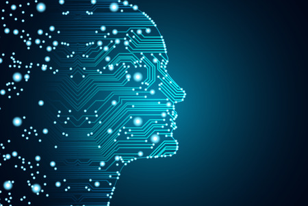 Konzept für Big Data und künstliche Intelligenz. Maschinelles Lernen und Cyber Mind Domination-Konzept in Form von Männern stellen Umrisskontur mit Leiterplatte und binärem Datenfluss auf blauem Hintergrund gegenüber.