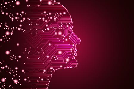 Big data en kunstmatige intelligentie concept. Machine learning en cyber geest overheersing concept in de vorm van mannen worden geconfronteerd met overzichtsoverzicht met printplaat en binaire gegevensstroom op rode achtergrond. Vector Illustratie