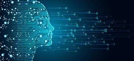 Big data e concetto di intelligenza artificiale. Apprendimento automatico e concetto di dominazione della mente cibernetica in forma di contorno di contorno del viso di donne con circuito stampato e flusso di dati binari su sfondo blu.